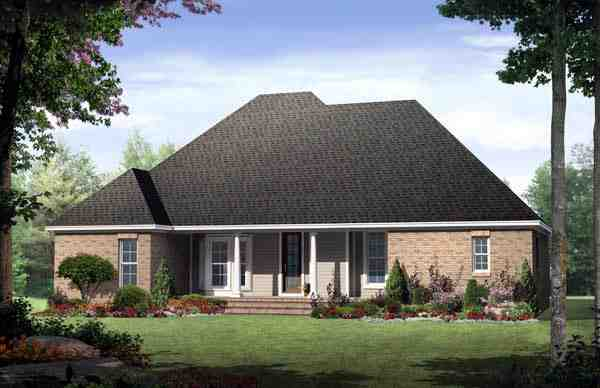 Country, European, Traditional House Plan 59132 with 3 Beds, 2 Baths, 2 Car Garage Rear Elevation