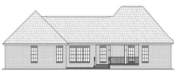 Country, European, French Country House Plan 59142 with 3 Beds, 3 Baths, 2 Car Garage Rear Elevation