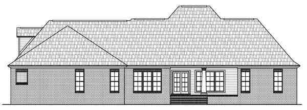 European, Southern House Plan 59161 with 4 Beds, 4 Baths, 3 Car Garage Rear Elevation