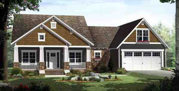 Bungalow, Craftsman, Traditional House Plan 59201 with 3 Beds, 2 Baths, 2 Car Garage Elevation