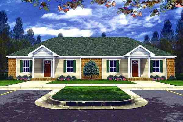 Country, Ranch, Southern Multi-Family Plan 59208 with 4 Beds, 4 Baths Elevation