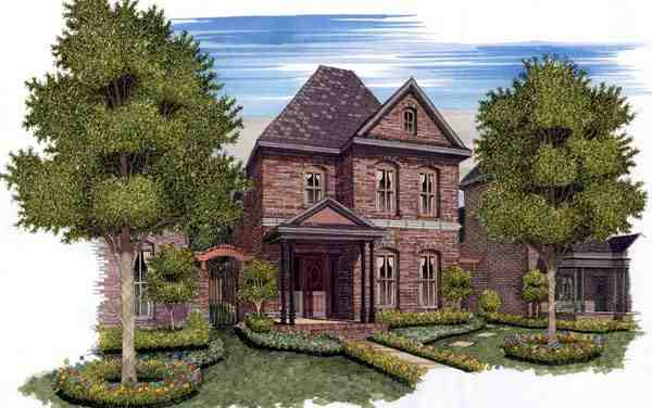 European, Traditional House Plan 59500 with 3 Beds, 3 Baths, 2 Car Garage Elevation