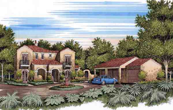 European, Mediterranean, Traditional House Plan 59505 with 4 Beds, 4 Baths Elevation