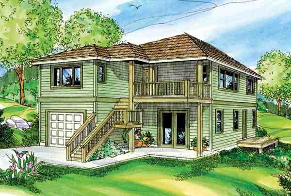 Contemporary, Florida House Plan 59720 with 2 Beds, 3 Baths, 1 Car Garage Elevation