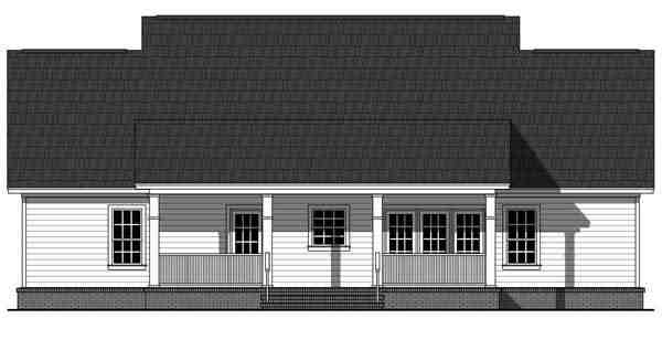 Colonial, Country, Traditional House Plan 59952 with 3 Beds, 3 Baths Rear Elevation
