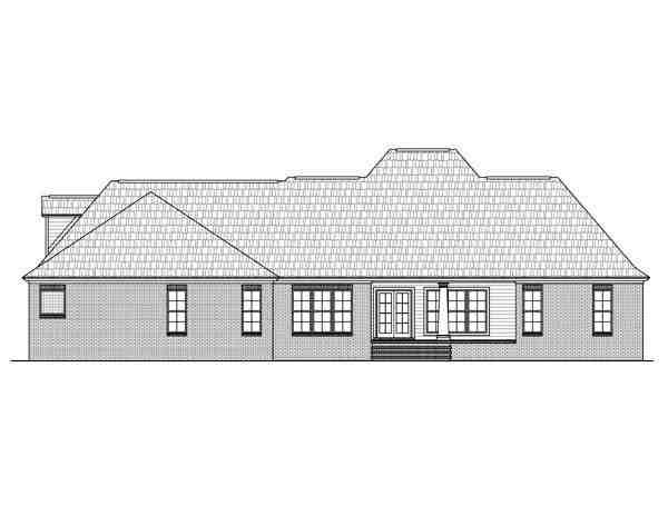 Country, European, French Country, Southern House Plan 59956 with 4 Beds, 4 Baths, 3 Car Garage Rear Elevation