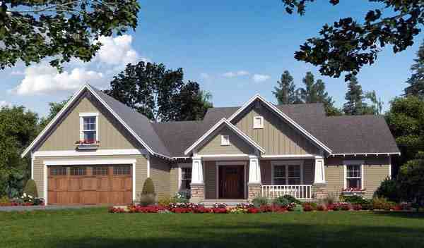 Cottage, Country, Craftsman House Plan 59974 with 3 Beds, 3 Baths, 2 Car Garage Elevation