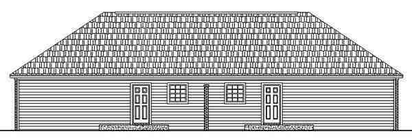 Country, Ranch, Southern Multi-Family Plan 59975 with 4 Beds, 4 Baths Rear Elevation