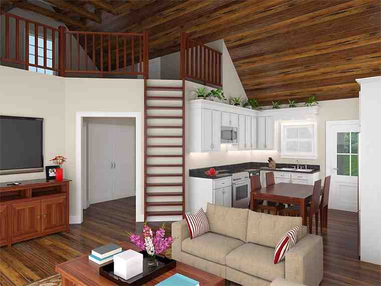 Cabin, Country, Ranch House Plan 59993 with 2 Beds, 1 Baths Picture 1