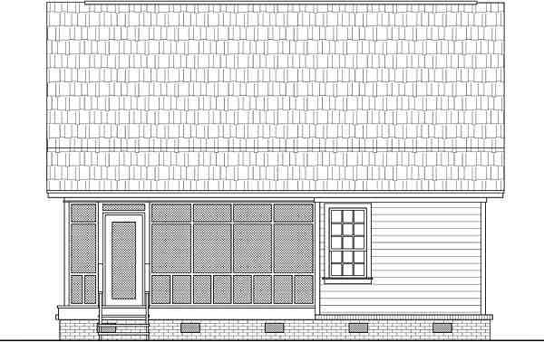 Cabin, Country, Ranch House Plan 59993 with 2 Beds, 1 Baths Rear Elevation