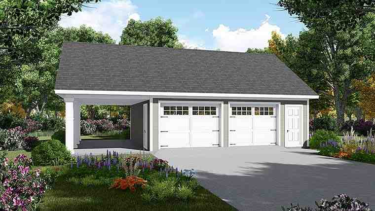 3 Car Garage Plan 59997 Elevation