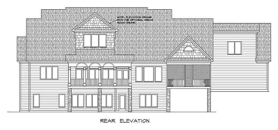 Craftsman, Traditional House Plan 60065 with 4 Beds, 5 Baths, 3 Car Garage Rear Elevation