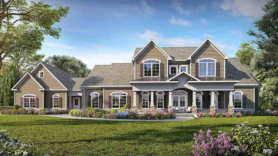 Craftsman, Traditional House Plan 60069 with 5 Beds, 5 Baths, 3 Car Garage Elevation