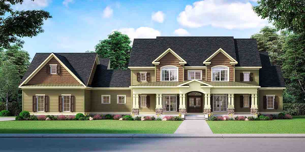 Craftsman, Traditional House Plan 60088 with 3 Beds, 5 Baths, 3 Car Garage Elevation