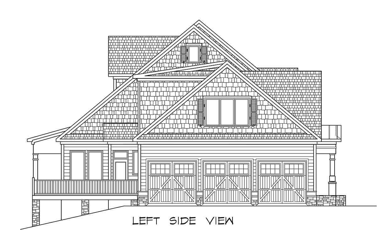 Craftsman, Traditional House Plan 60088 with 3 Beds, 5 Baths, 3 Car Garage Picture 2