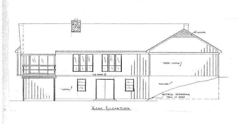 House Plan 60640 with 5 Beds, 4 Baths Rear Elevation
