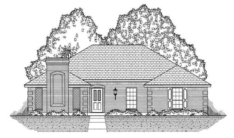 European, Traditional House Plan 60829 with 3 Beds, 2 Baths, 2 Car Garage Picture 4
