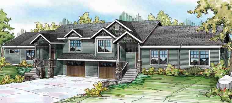 Bungalow, Contemporary, Cottage, Country, Craftsman Multi-Family Plan 60909 with 6 Beds, 6 Baths, 2 Car Garage Elevation