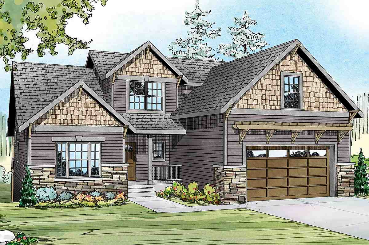 Contemporary, Cottage, Country, Craftsman House Plan 60958 with 3 Beds, 3 Baths, 2 Car Garage Elevation