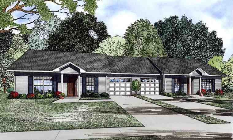 Multi-Family Plan 61091 with 4 Beds, 2 Baths, 2 Car Garage Elevation