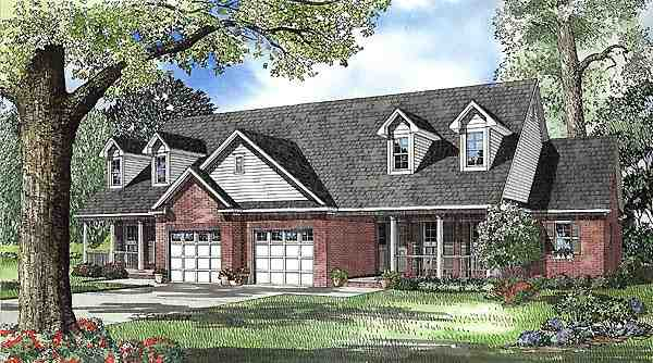 Country, One-Story Multi-Family Plan 61226 with 4 Beds, 4 Baths, 2 Car Garage Elevation