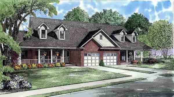 Country, One-Story Multi-Family Plan 61229 with 4 Beds, 4 Baths, 2 Car Garage Elevation