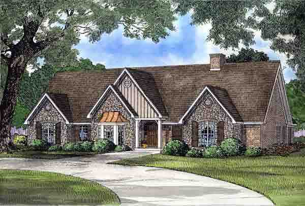 Traditional House Plan 61235 with 5 Beds, 5 Baths, 3 Car Garage Elevation