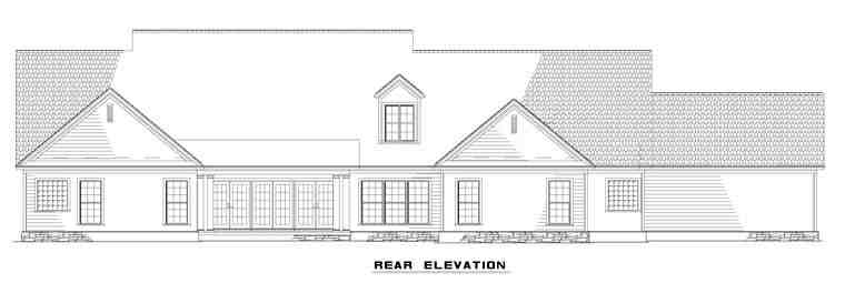 Country, Craftsman, Traditional House Plan 61323 with 4 Beds, 4 Baths, 4 Car Garage Rear Elevation