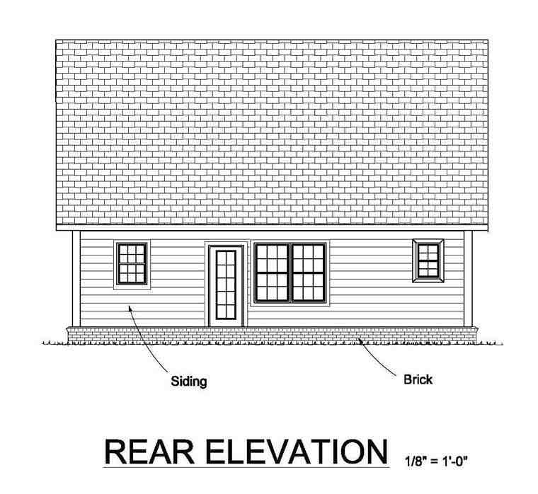Cottage, Country, Traditional House Plan 61453 with 3 Beds, 3 Baths Rear Elevation