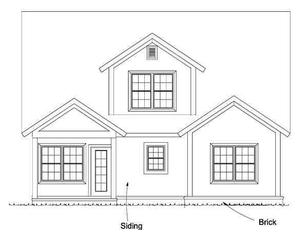 Cape Cod, Cottage, Country, Traditional House Plan 61474 with 4 Beds, 3 Baths Rear Elevation