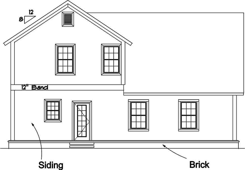 Cottage, Traditional House Plan 61487 with 3 Beds, 4 Baths, 2 Car Garage Rear Elevation