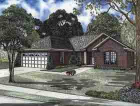 One-Story, Traditional House Plan 62159 with 3 Beds, 2 Baths, 2 Car Garage Elevation