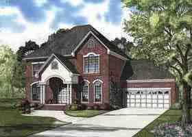 European House Plan 62165 with 4 Beds, 3 Baths, 2 Car Garage Elevation
