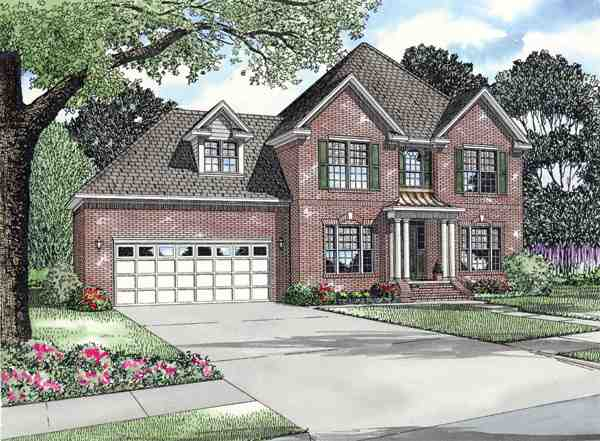 Colonial, Traditional House Plan 62200 with 3 Beds, 3 Baths, 2 Car Garage Elevation
