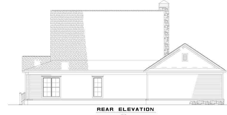 Country, Farmhouse House Plan 62207 with 4 Beds, 3 Baths, 3 Car Garage Rear Elevation