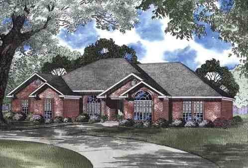 One-Story House Plan 62346 with 4 Beds, 3 Baths, 2 Car Garage Elevation