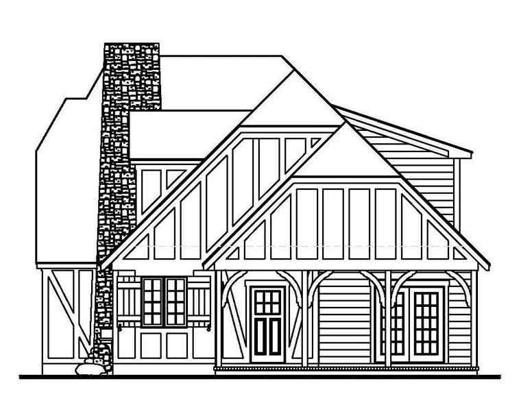Tudor House Plan 62407 with 4 Beds, 2 Baths Picture 2