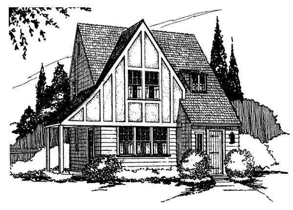 Cottage House Plan 62413 with 2 Beds, 2 Baths Elevation