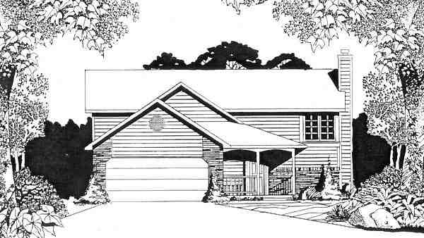 Narrow Lot, One-Story, Traditional House Plan 62505 with 2 Beds, 2 Baths, 2 Car Garage Elevation