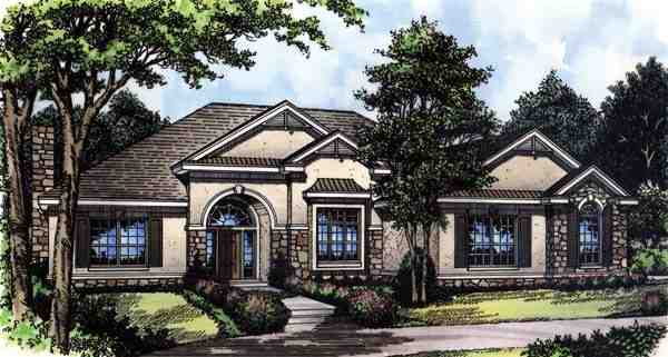 Mediterranean, One-Story House Plan 63052 with 3 Beds, 2 Baths, 2 Car Garage Elevation
