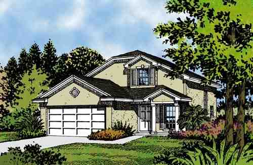 Mediterranean, Narrow Lot House Plan 63138 with 4 Beds, 2 Baths, 2 Car Garage Elevation