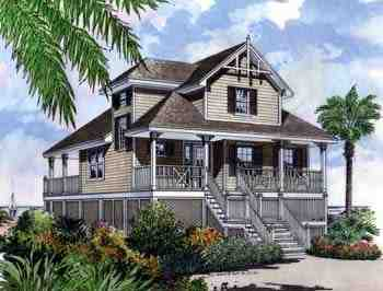 Coastal, Narrow Lot, Traditional House Plan 63196 with 4 Beds, 2 Baths, 2 Car Garage Elevation