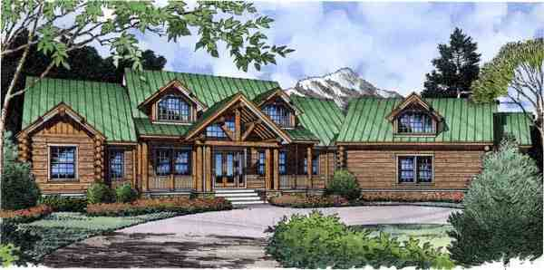 Farmhouse, Traditional House Plan 63362 with 4 Beds, 4 Baths, 2 Car Garage Elevation