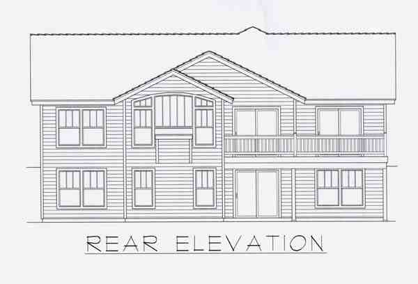 Craftsman House Plan 63513 with 5 Beds, 3 Baths, 2 Car Garage Rear Elevation
