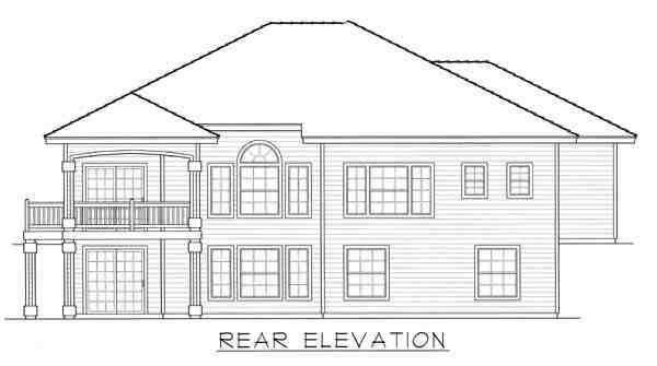 Contemporary, Mediterranean, Ranch House Plan 63514 with 3 Beds, 3 Baths, 3 Car Garage Rear Elevation