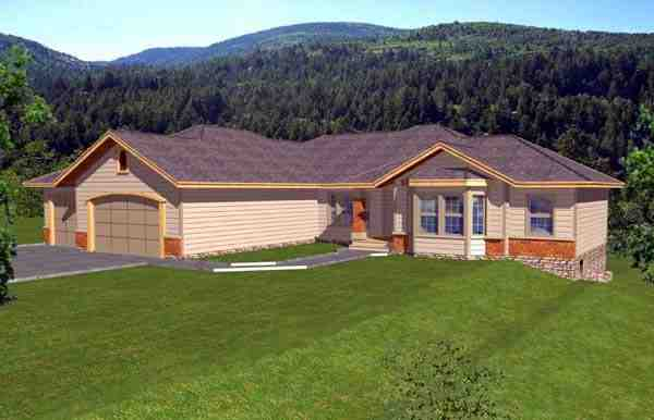 Contemporary, Ranch House Plan 63542 with 7 Beds, 4 Baths, 3 Car Garage Elevation