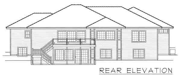 Contemporary, Ranch House Plan 63542 with 7 Beds, 4 Baths, 3 Car Garage Rear Elevation