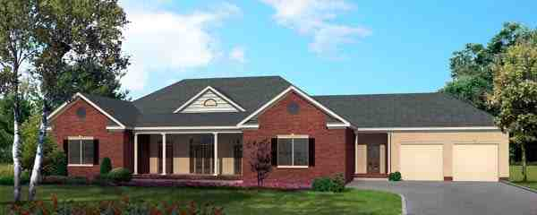 One-Story House Plan 64413 with 3 Beds, 3 Baths, 2 Car Garage Elevation
