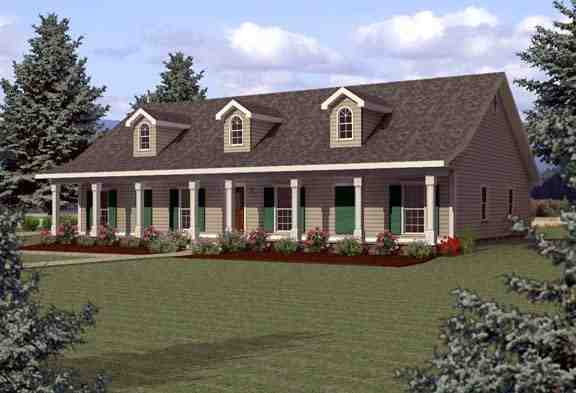Country, One-Story House Plan 64523 with 4 Beds, 3 Baths Elevation
