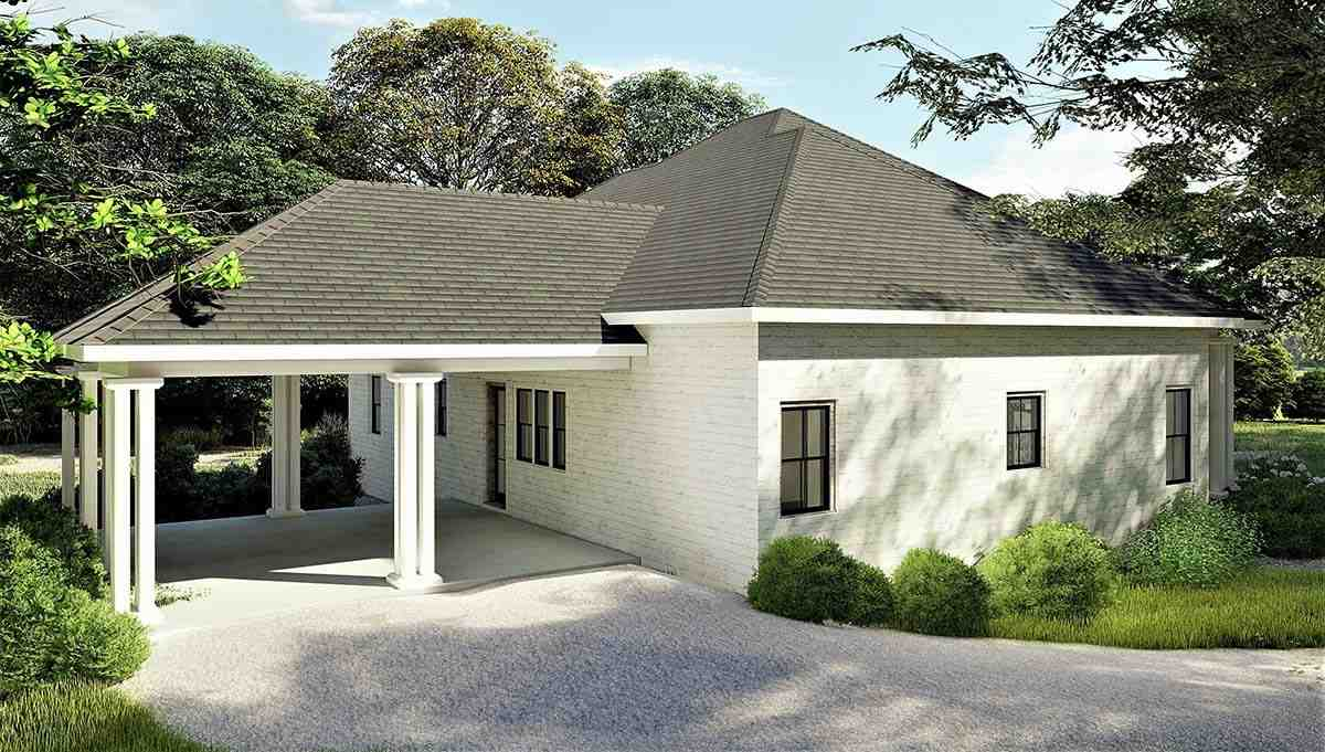 Colonial, Country, Southern House Plan 64599 with 3 Beds, 2 Baths, 2 Car Garage Picture 2